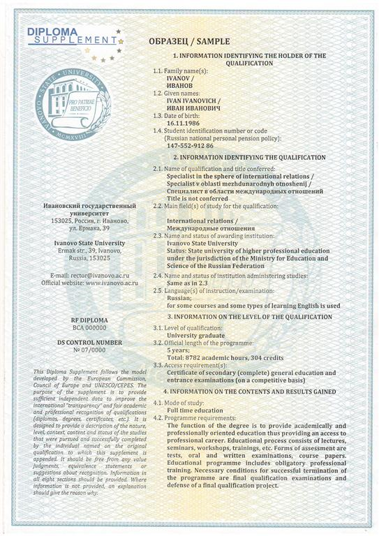 Европейское приложение к диплому выпускника Ивановского  Положение о выдаче Европейского приложения к диплому выпускника ИвГУ